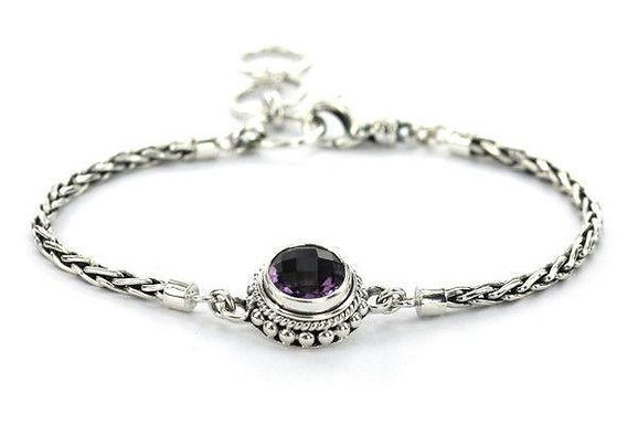 Silver Bali Amethyst Bracelet
