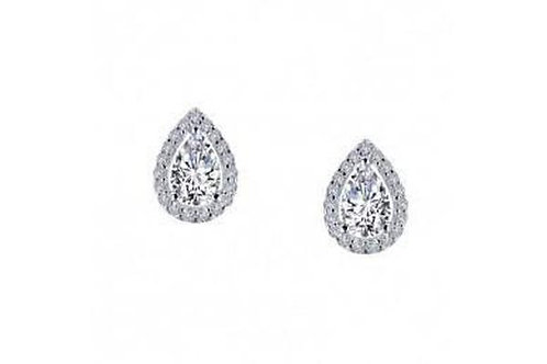 pear-shaped stud earrings with Lassaire clear and black simulated diamonds in si