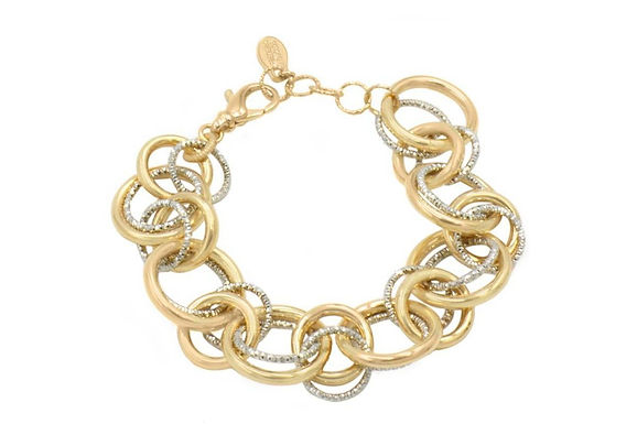 STERLING SILVER YELLOW GOLD PLATED RING-A-LING BRACELET