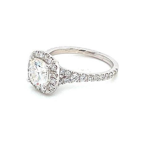 14KW 7-MM FOREVER-ONE MOISSANITE ENGAGEMENT RING DIAMOND 0.60CTW