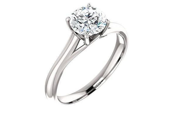 14K Gold Four Prong Solitaire Engagement Ring
