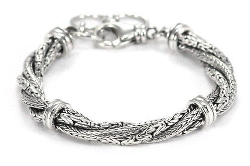 D E W I 925 S. Silver Twisted Mix Adj. Bracelet