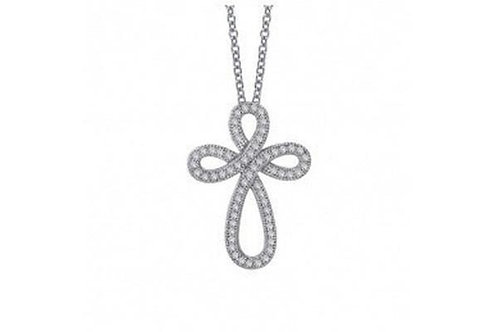 Pave Simulated Diamond & Silver Open Cross P0069CLP18