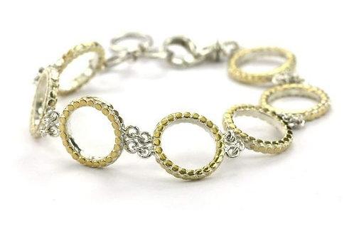 S O H O 925 S. Silver Bola Circle Bracelet 18K Gold Vermeil