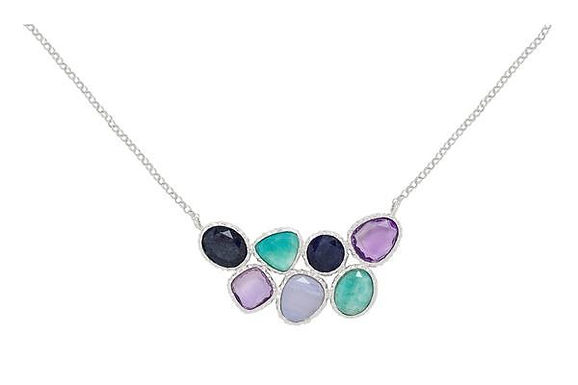 Sterling Silver Amazonite, Chalcedony, Blue Aventurine, Amethyst Necklace