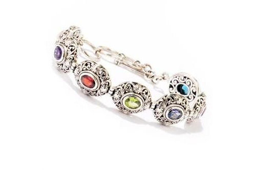 "SS 6.5"" MULTI GEMSTONE BRACELET WITH 1"" EXTENDER"