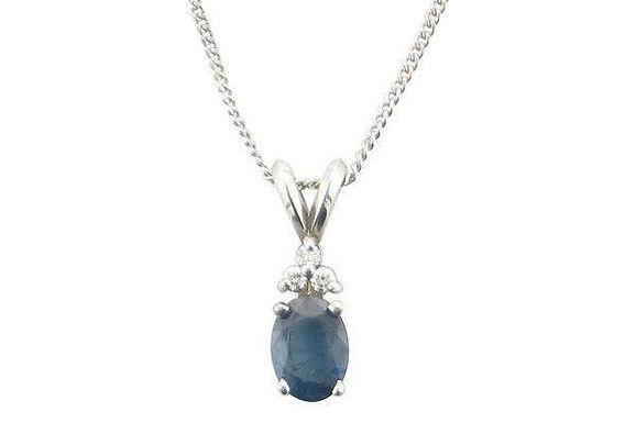 Blue Sapphire and Diamond pendant in 14K white gold