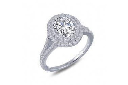Double Halo Oval Ring R0155CLP