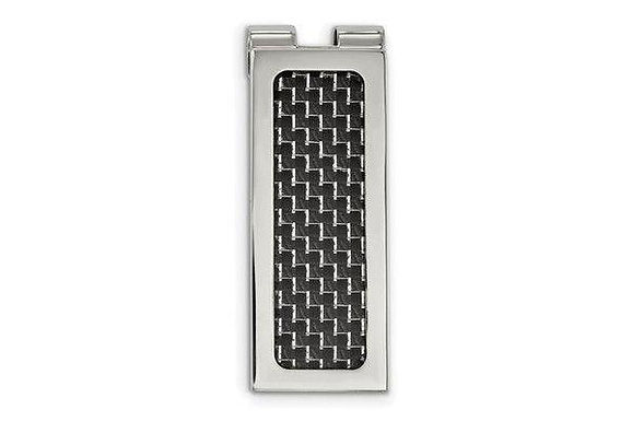 Stainless Steel Polished With Black Carbon Fiber Inlay Money Clip