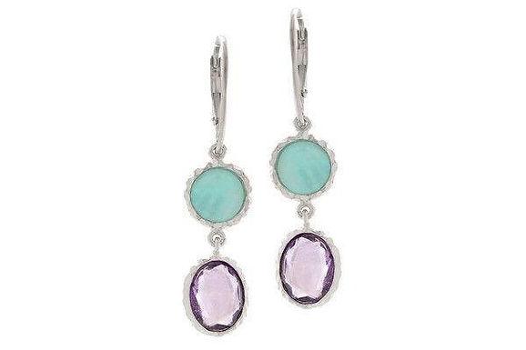 Sterling Silver Amethyst + Amazonite Earrings