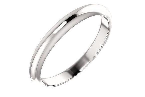 14K White Gold Wedding Band 3-mm
