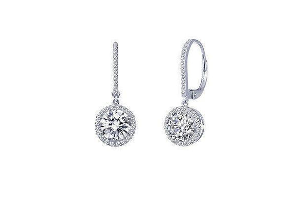 S.S.PT 2.72cttw Round Halo Earrings