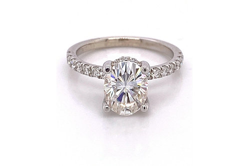 14KW French Set Diamond & Moissanite Engagement Ring 9x7 Oval