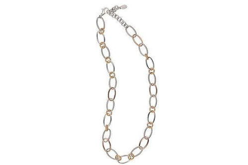 "Sterling Silver Yellow and Rose Gold Plated Ovalopolis 36"" Necklace"