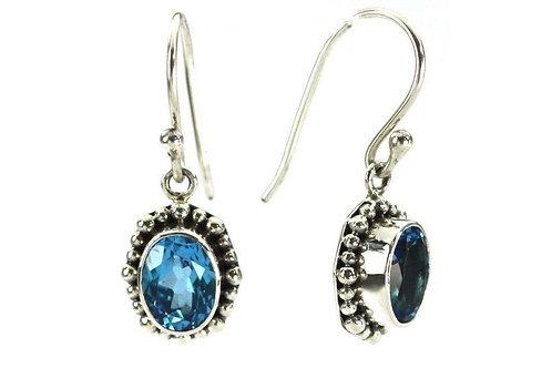 P A D M A 925 S. Silver Bali Oval Swiss Blue Topaz Earrings