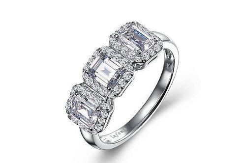 Three-Stone Halo Ring S-Silver  Lassiare simulated diamonds