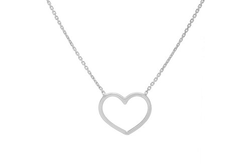 """14KY Open Heart Necklace 16"""" to 18"""" Adjustable"""