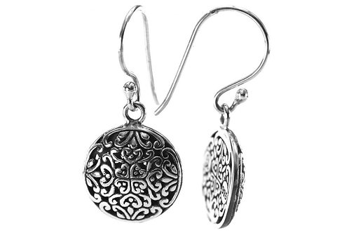 W E D A 925 S. Silver Bali Round Filigree Earrings