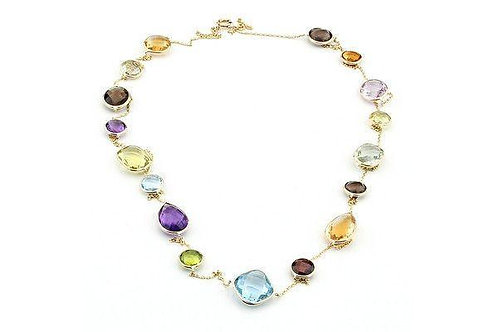 "14K Gold Station Necklace With Multi Color Gemstones 36"""
