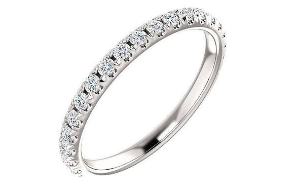 14K White 3/8 CTW Diamond French-Set Matching Band