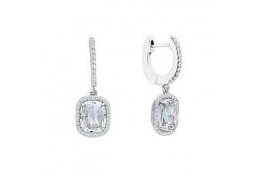 lONG CUSHION CUT OVAL HALO DANGLE EARRINGS