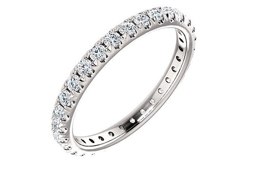 14K White 9/10 CTW Diamond French-Set Eternity Band
