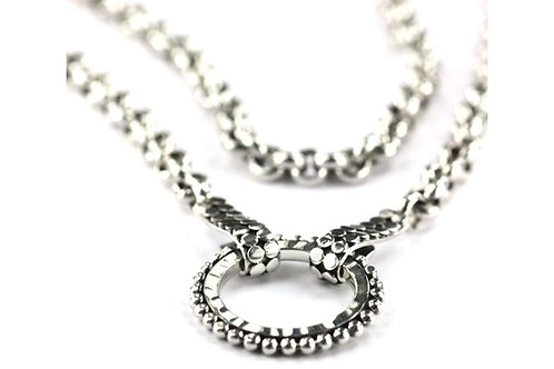"""D A S A 925 S. Silver HAmmered Ring Necklace 18"""""""
