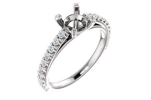 14K Gold Diamond French Pavé -Set Engagement Ring