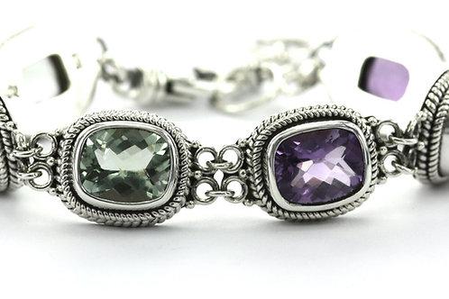 925-silver Amethyst & Green Amethyst Station Bracelet