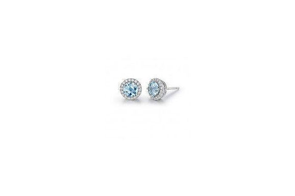 Blue Topaz Stud Earrings With Halo