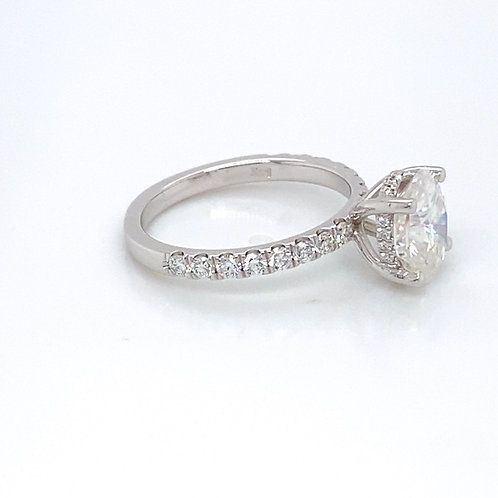 14KW French Set LG  Diamond & Moissanite Engagement Ring 9x7 Oval