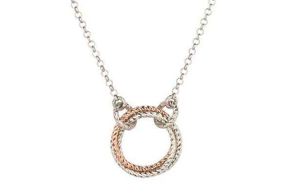 """Sterling Silver And Rose Gold Plated Single Love Knot Necklace 19"""""""
