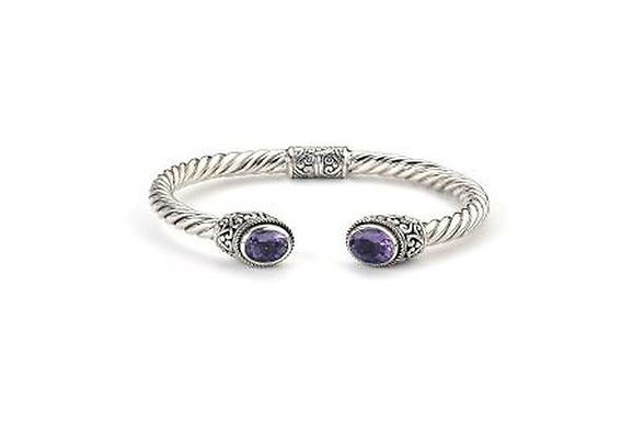 SS OVAL AMETHYST TWISTED BANGLE