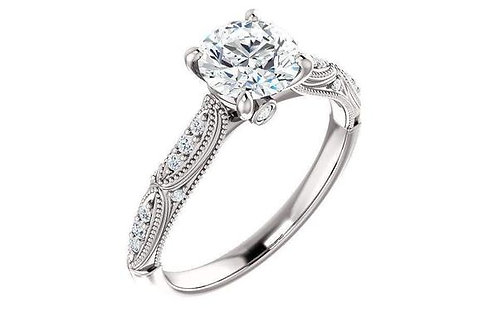 14KW Diamond & 1.0ct Forever One Moissanite Engagement Ring