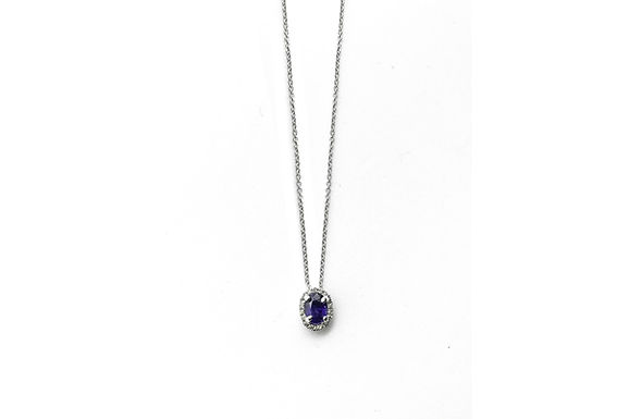 14kw halo diamond sapphire necklace