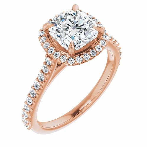 14K 7 mm Cushion Forever One™ Moissanite & 1/3 CTW Diamond Engagement Ring