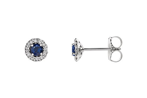 14KW 1/3 CTW Diamond & Sapphire Halo-Stud Earrings