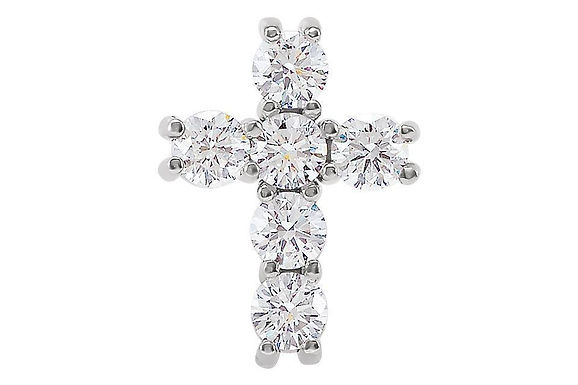 """14KW Gold 0.50ctw Diamond Cross & 18"""" Cable Chain"""