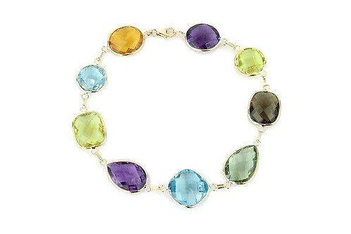 14K Gold Bracelet With Oval, Cushion, Round, Pear Shape Gemstones