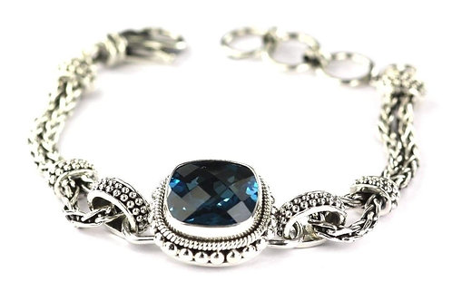 S. Silver Blue Topaz Bracelet