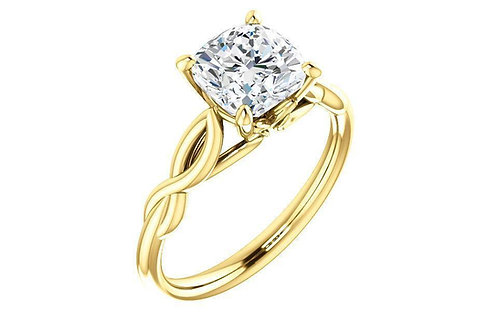 Infinity Solitaire Cushion Cut Forever One™ Moissanite Engagement Ring