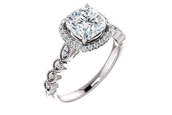 14K Halo 7x7 Cushion Cut Moissanite Engagement Ring 123385