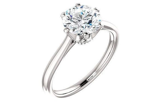 14K Gold Six Prong Designer Head Solitaire Engagement Ring