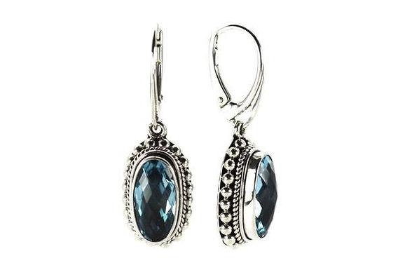 925 S. Silver Bali Sky Blue Topaz Earrings
