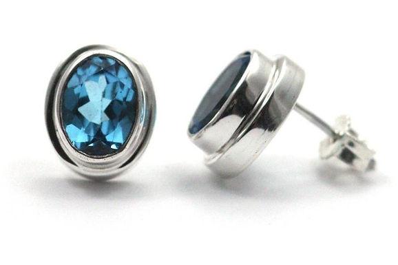 P A D M A 925 S. Silver Bali Blue Topaz Post Stud Earrings