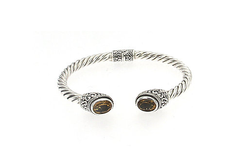 SS OVAL CITRINE TWISTED BANGLE