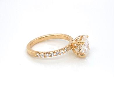 14KY French Set LG  Diamond & Moissanite Engagement Ring 9x7 Oval