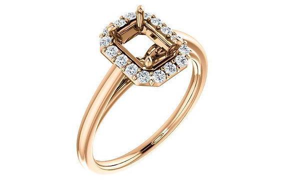 14K Gold Sculptural Halo Engagement Ring