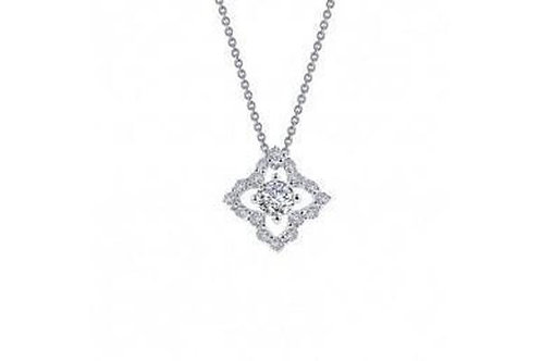 Silver simulated diamonds necklace N0097CLP18