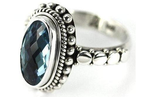 925 S. Silver Bali Sky Blue Topaz Ring